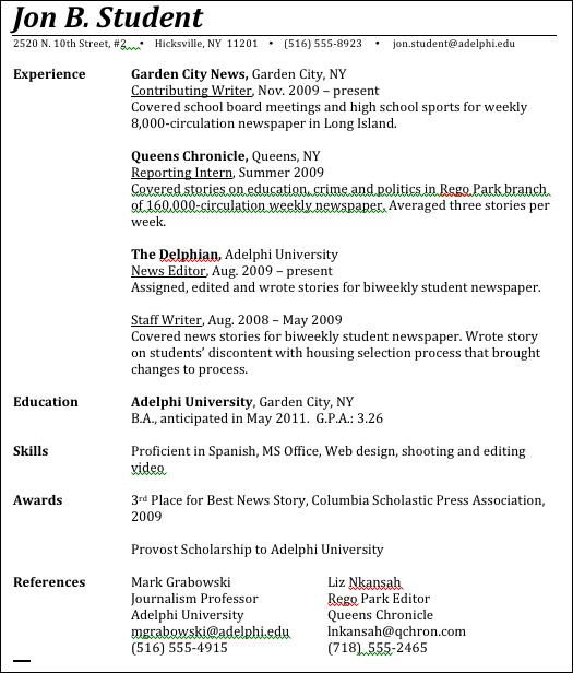 where to put internship on resume
